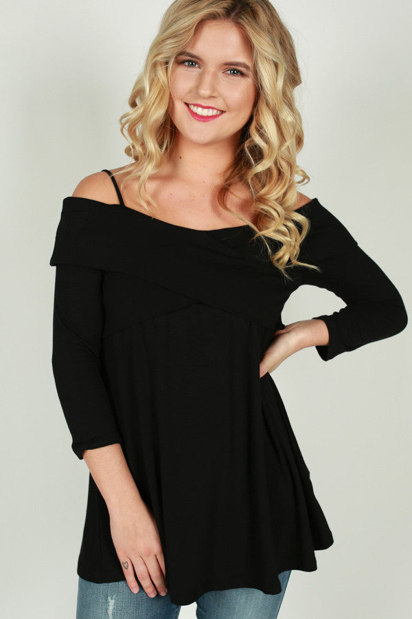 Wrapped Attention Cold Shoulder Top in Black