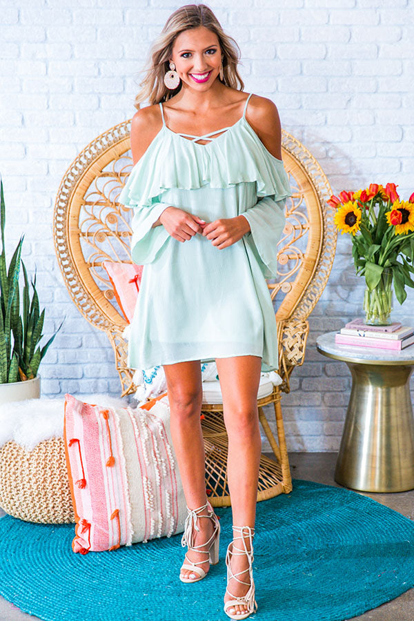 Escaping Reality Cold Shoulder Dress in Mint