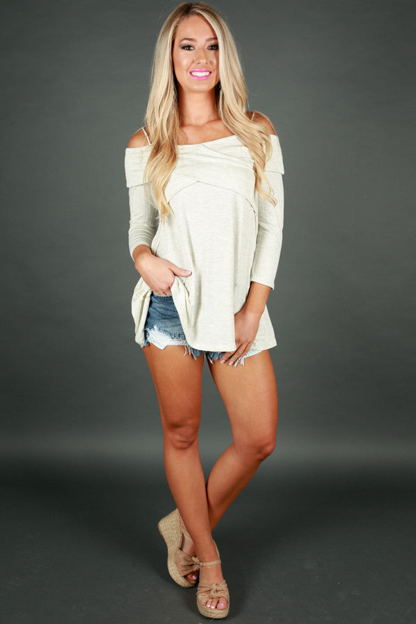 Wrapped Attention Cold Shoulder Top in Stone