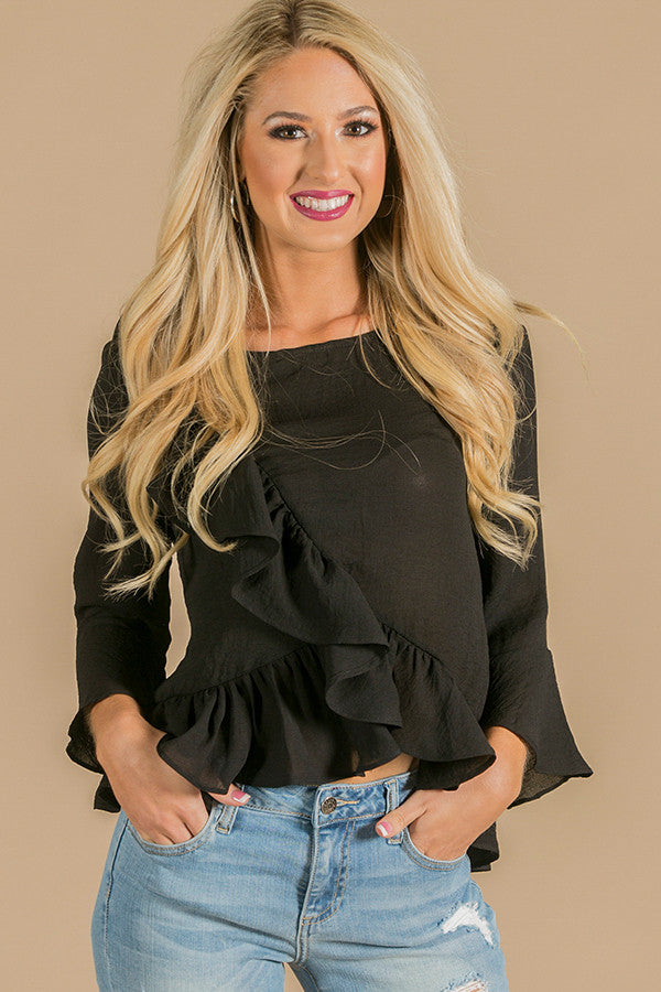Flirty And Frills Top In Black