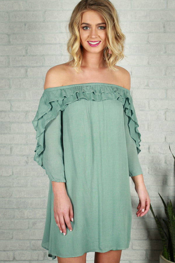 Give Me A Beat Off Shoulder Dress in Light Teal