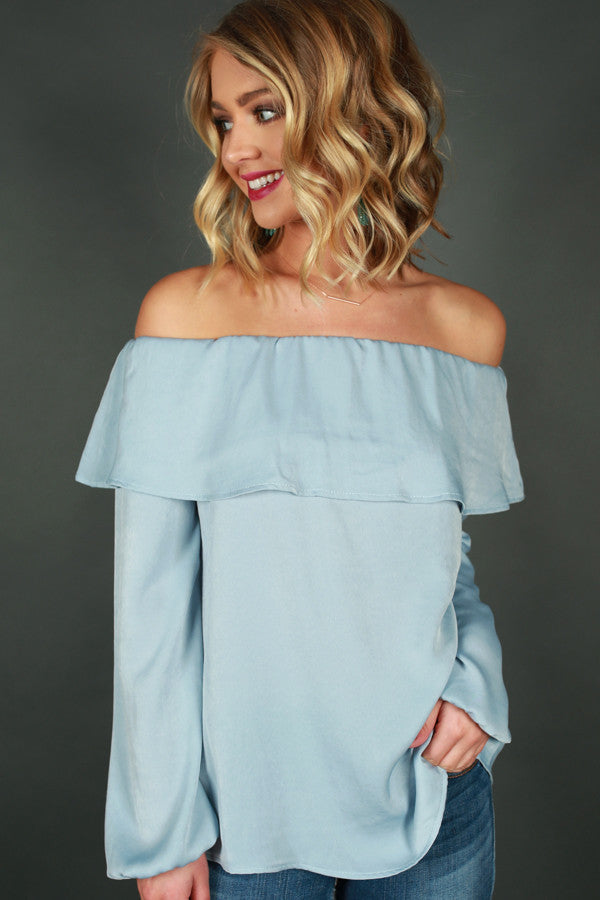 Luxe Getaway Off Shoulder Top in Sky Blue