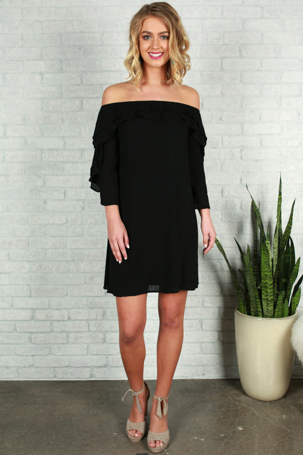 Give Me A Beat Off Shoulder Dress in Black