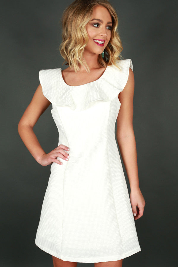 Unstoppable You Ruffle Dress White