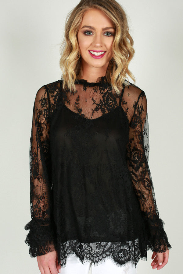 Chic My Interest Lace Top in Black