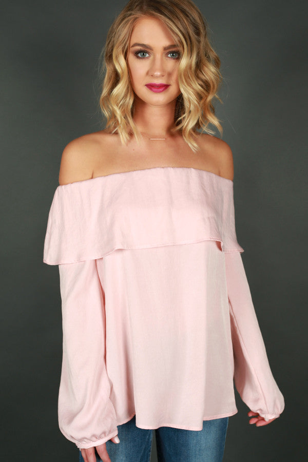 Luxe Getaway Off Shoulder Top in Rose Quartz