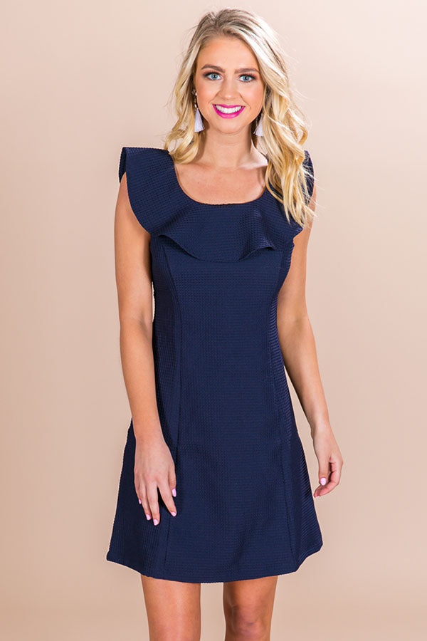 Unstoppable You Ruffle Dress in Navy