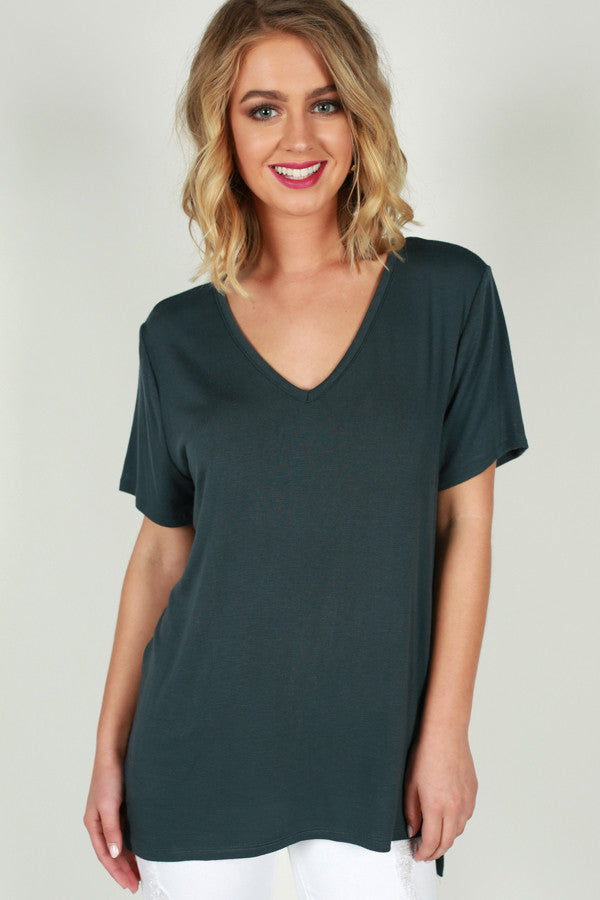 Good Natured V-Tee in Slate