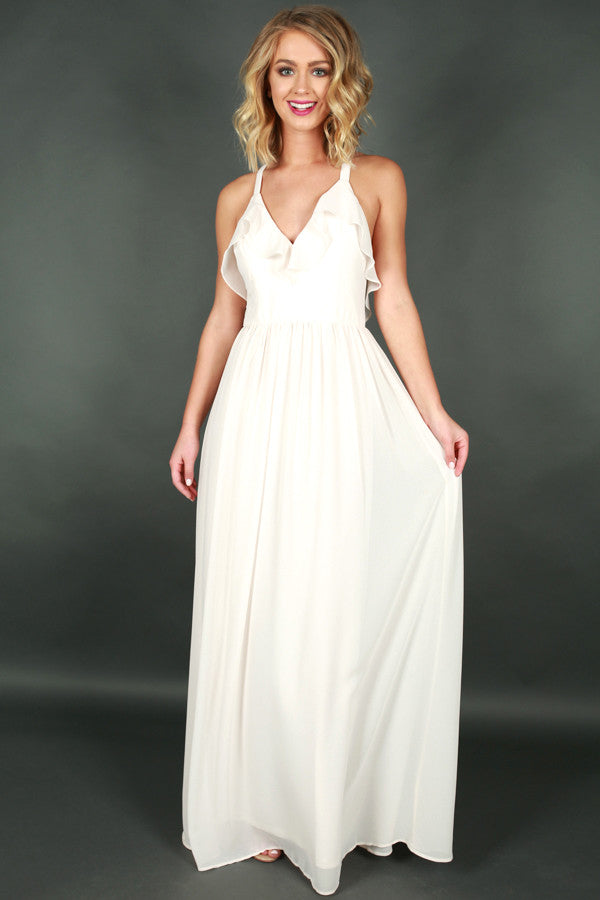 Away We Go Maxi Dress in Ivory
