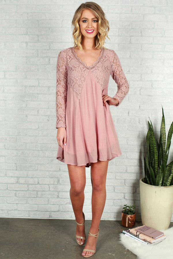 Lace and Love Dress in Blush