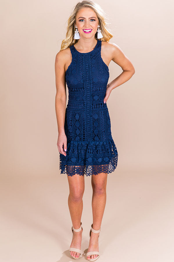 Bubbly and Beautiful Crochet Dress in Navy