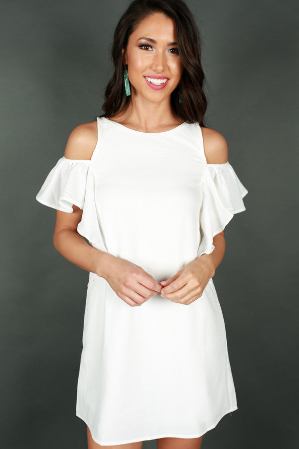 French Daydream Cold Shoulder Dress in White