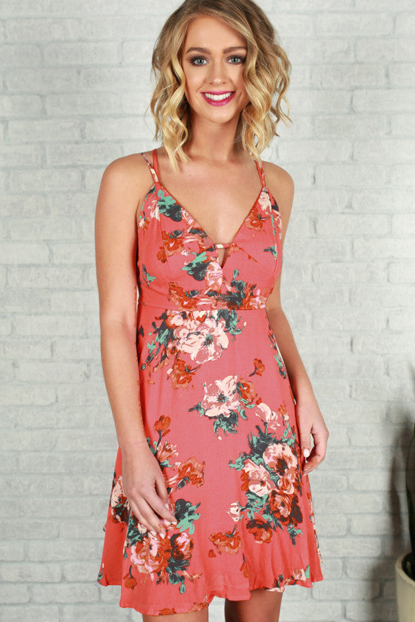 Mimosas In Savannah Floral Dress in Raspberry