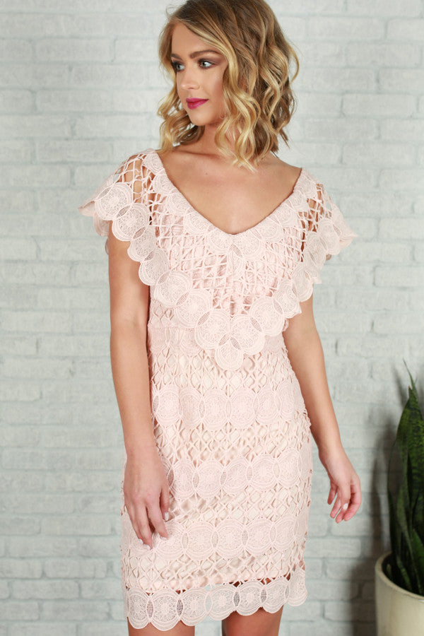 He Calls Me Love Crochet Dress in Rose Quartz