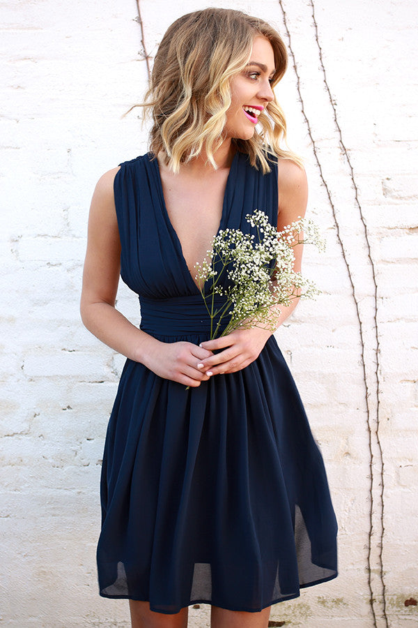 Struck Sweetheart Dress in Navy
