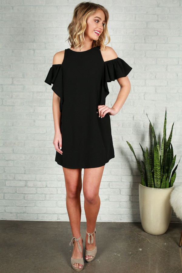 French Daydream Cold Shoulder Dress in Black