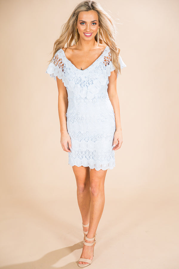 He Calls Me Love Crochet Dress in Sky Blue