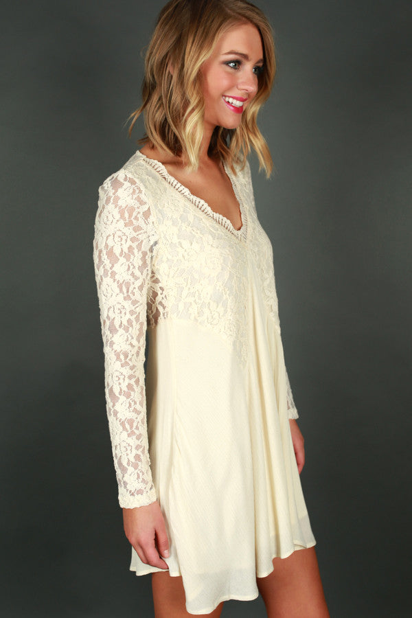 Lace and Love Dress in Cream