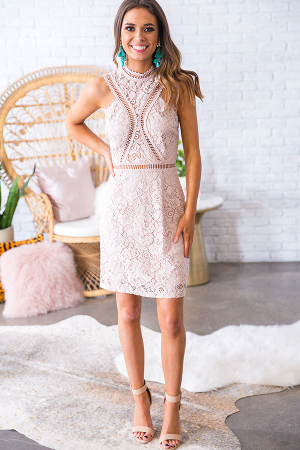 Let's Talk Later Lace Dress in Light Blush