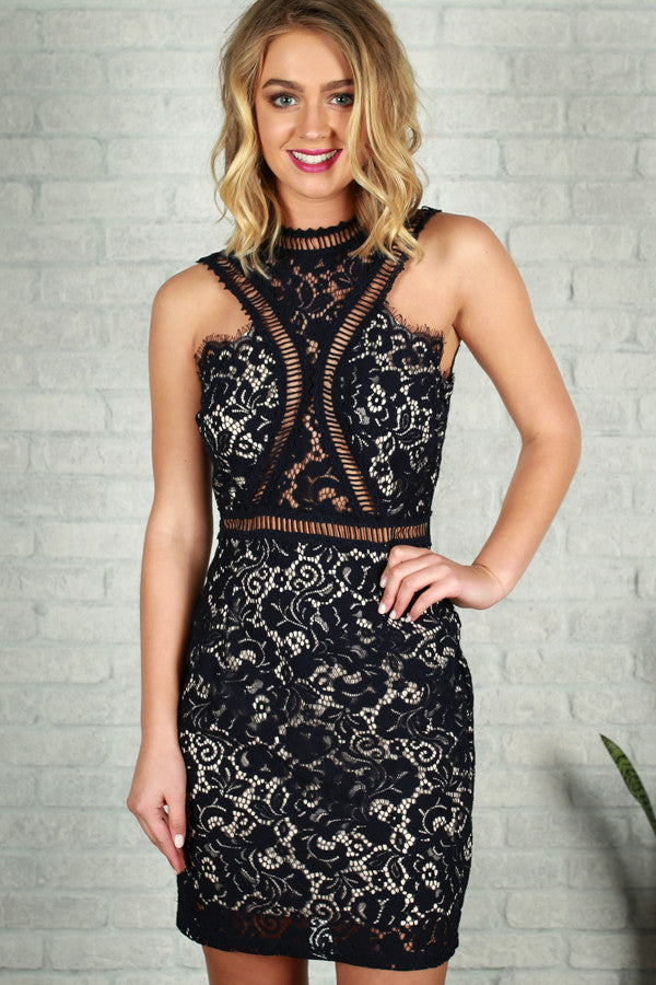 Let's Talk Later Lace Dress in Navy