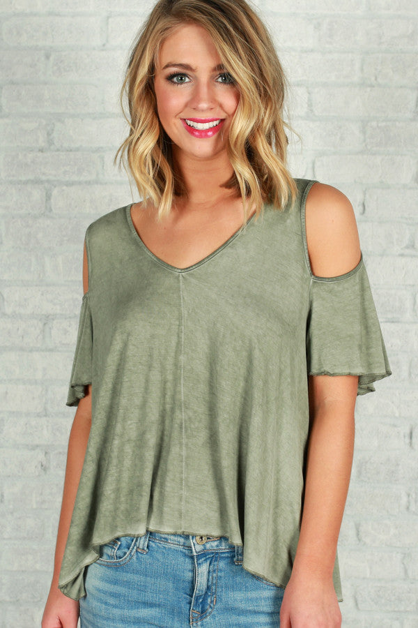 Looking Forward To The Weekend Top in Sage