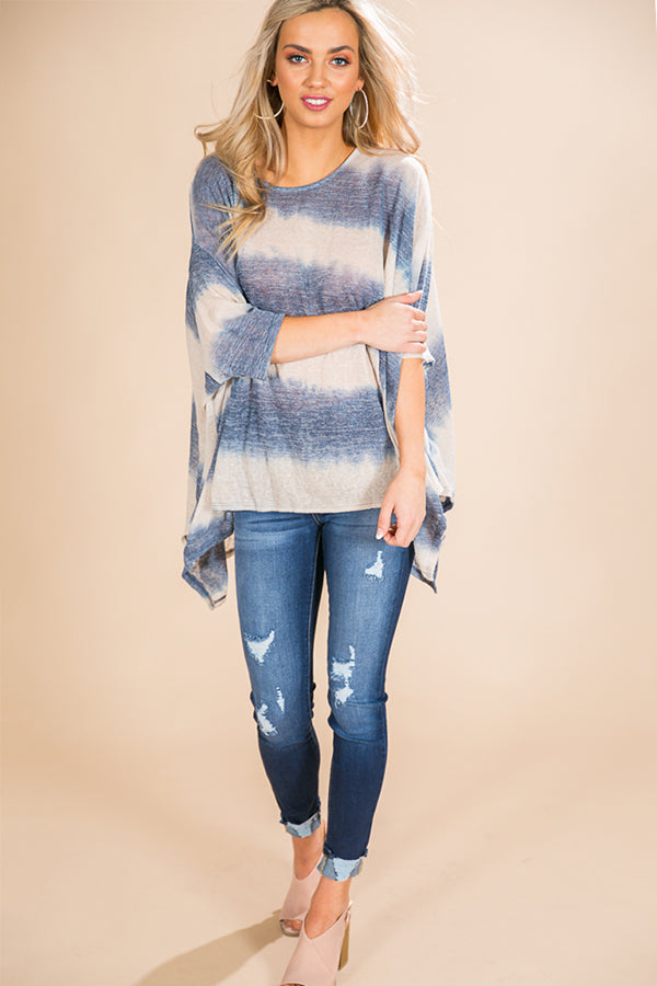 Mimosa and Matinee Tie Dye Top in in Blue