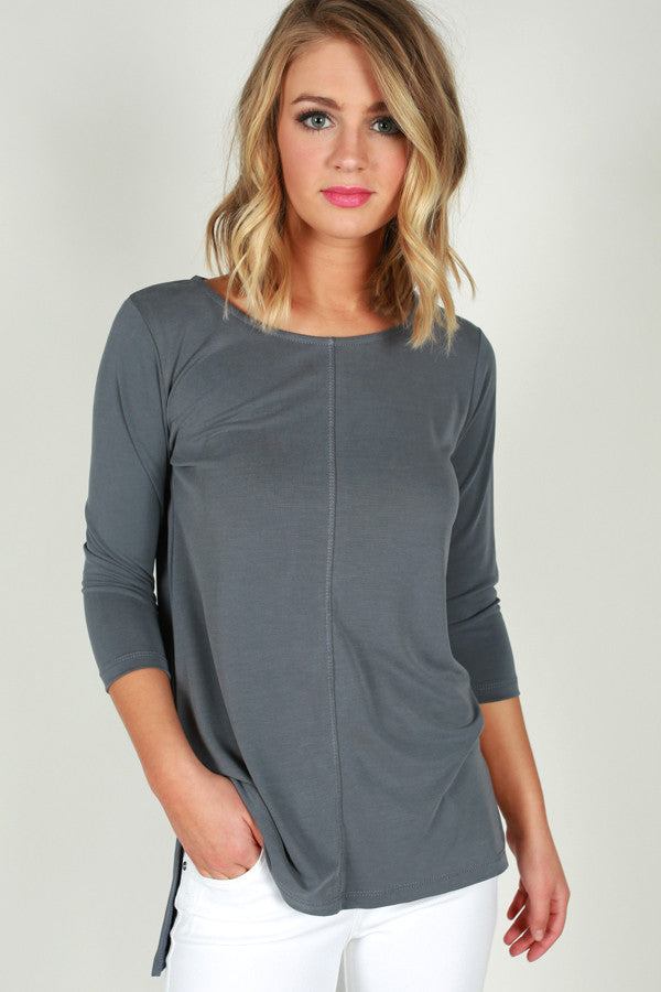 Basic Bliss Shift Top in Slate