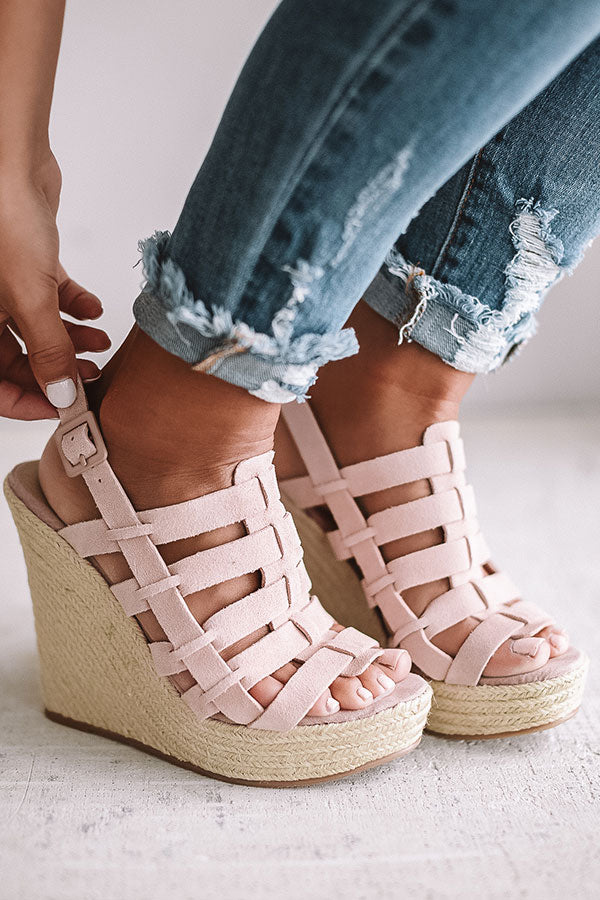 Dance Party Suede Wedge In Rose Quartz