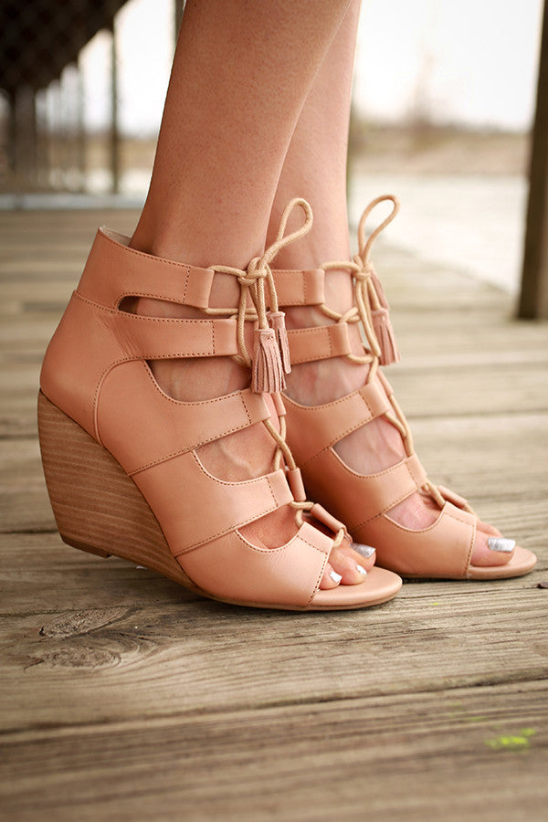 Delirious Lace Up Wedge