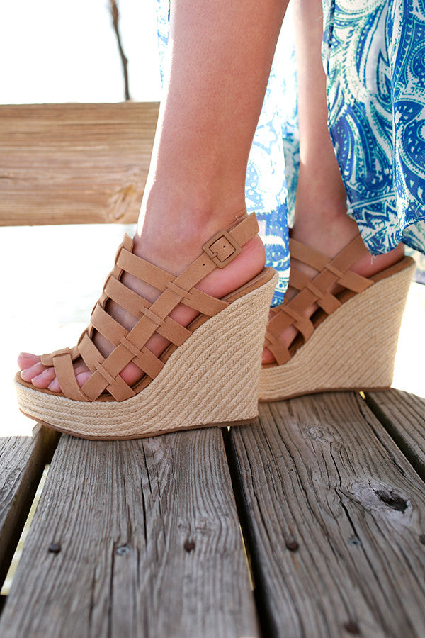 Dance Party Suede Wedge In Khaki