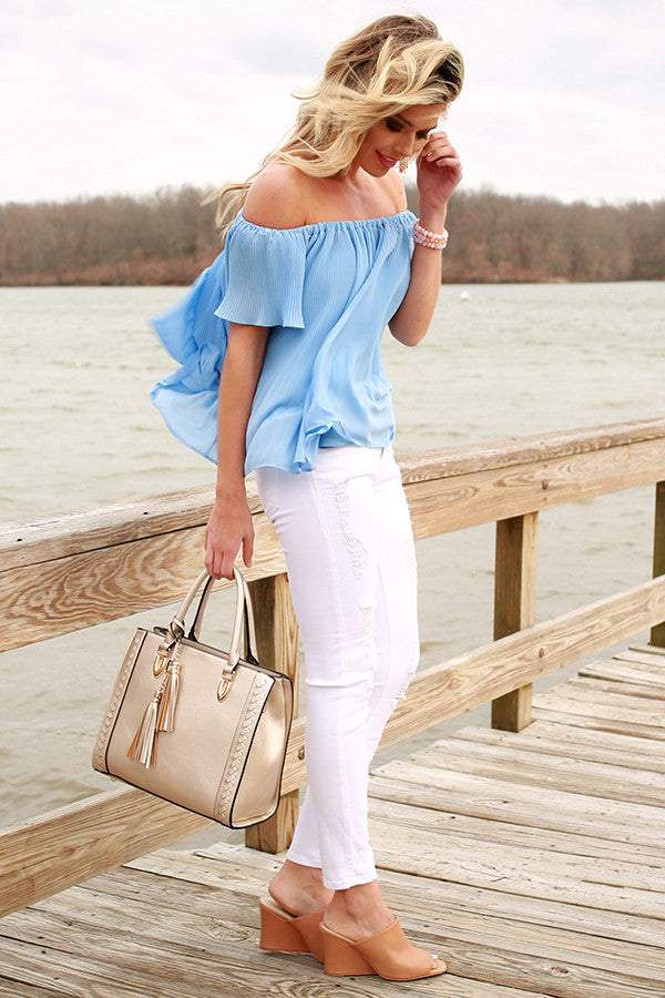 Dreamy Escape Off Shoulder Top in Island Paradise