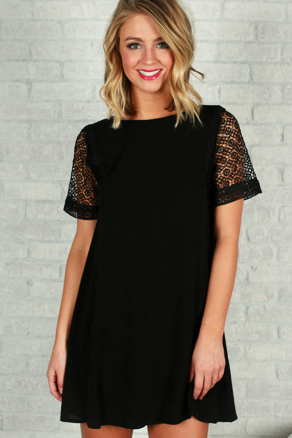 Glow From Within Shift Dress in Black
