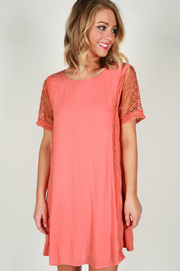 Glow From Within Shift Dress in Coral