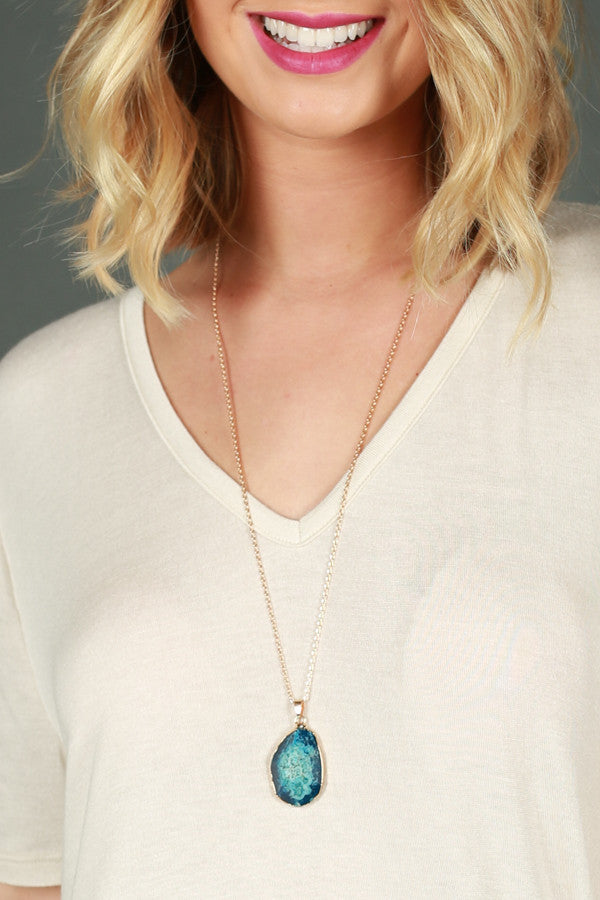 One Precious Stone Necklace in Blue