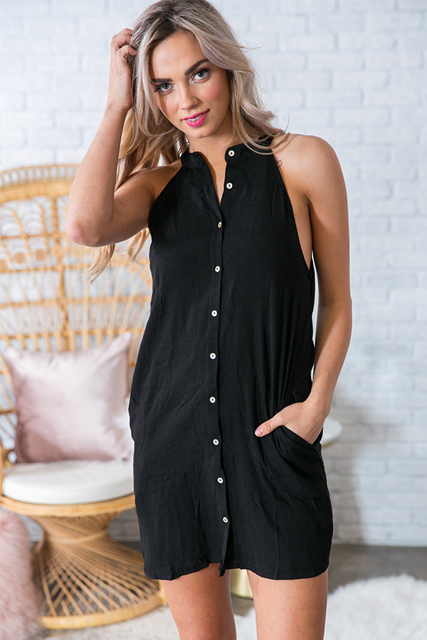 Button Me Babe Dress in Black
