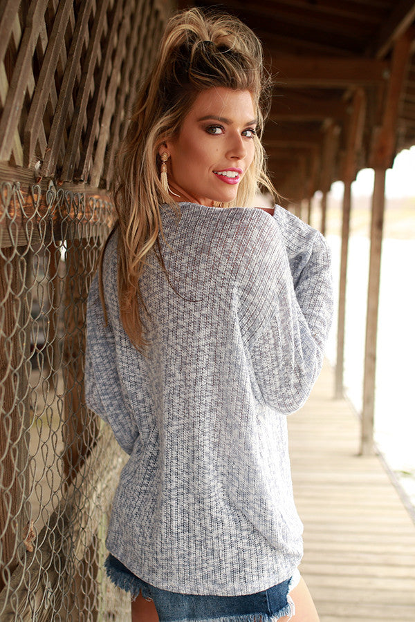 Love Everlasting Lace Up Sweater in Sky Blue