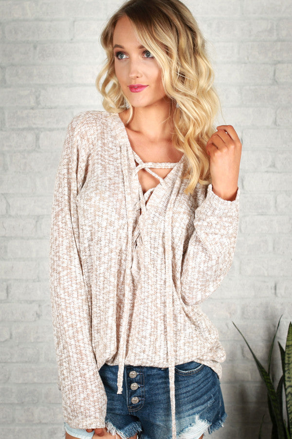 Love Everlasting Lace Up Sweater in Warm Taupe