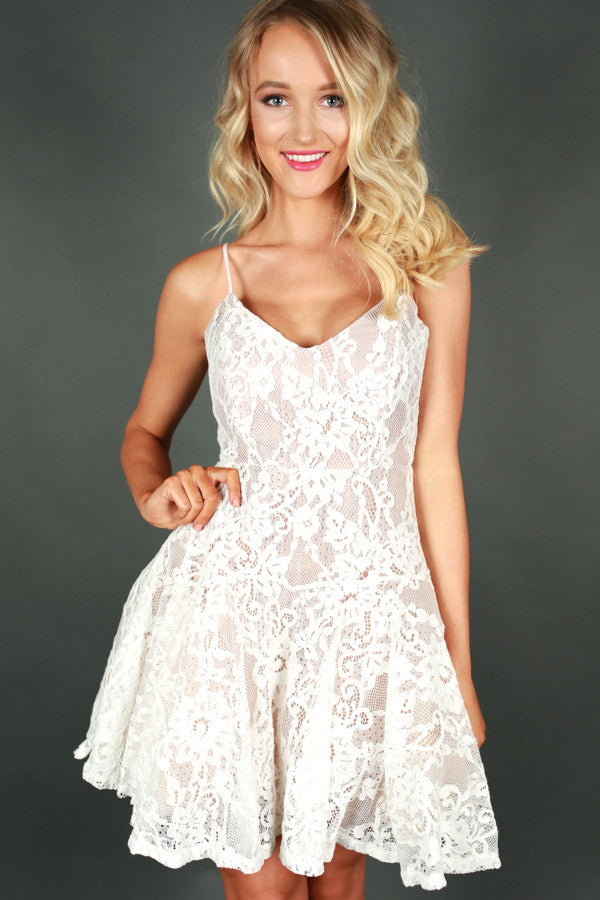 Twirl Me Lace Fit and Flare Dress in Ivory