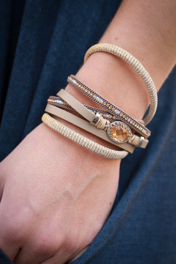 Away we Go Wrap Bracelet In Beige