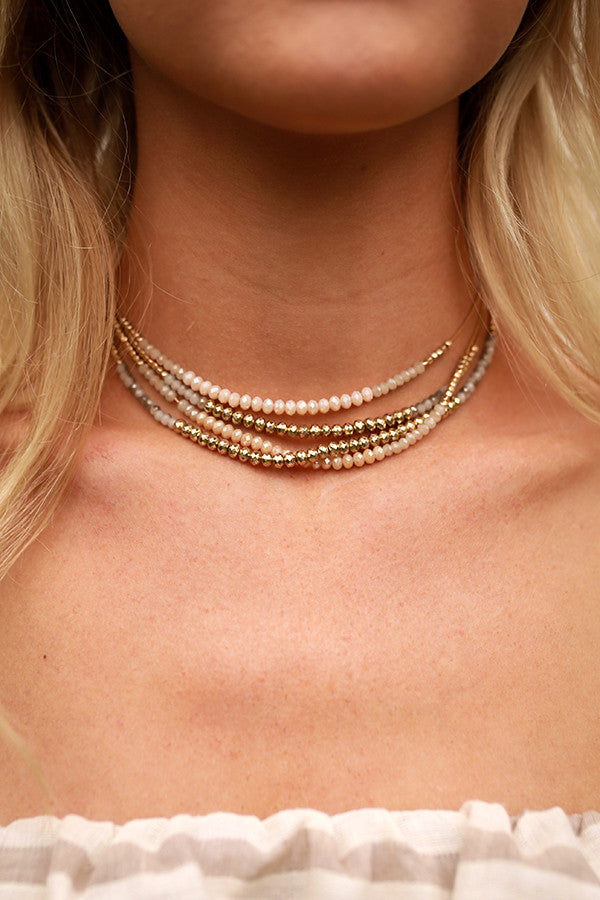Keeping You Close Choker Necklace In Champagne
