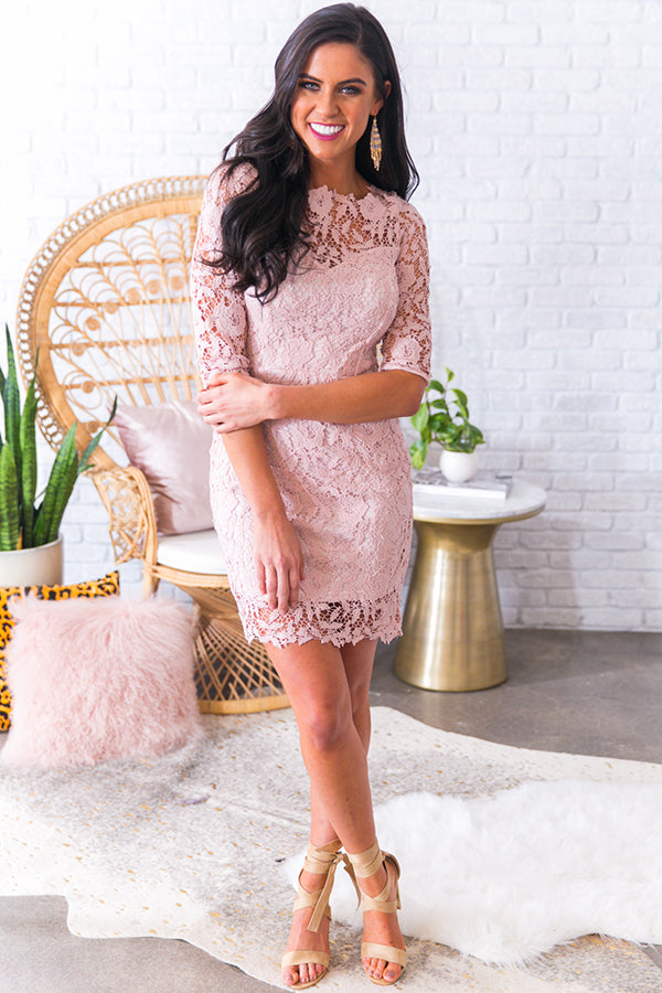 Honeymoon Phase Crochet Dress in Rose Quartz
