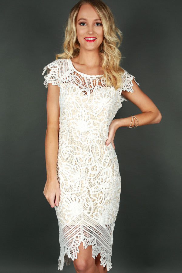 Dancing Queen Crochet Dress in White