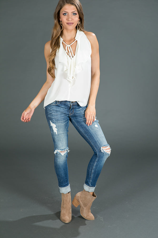 Flawless Frills Tank In Ivory