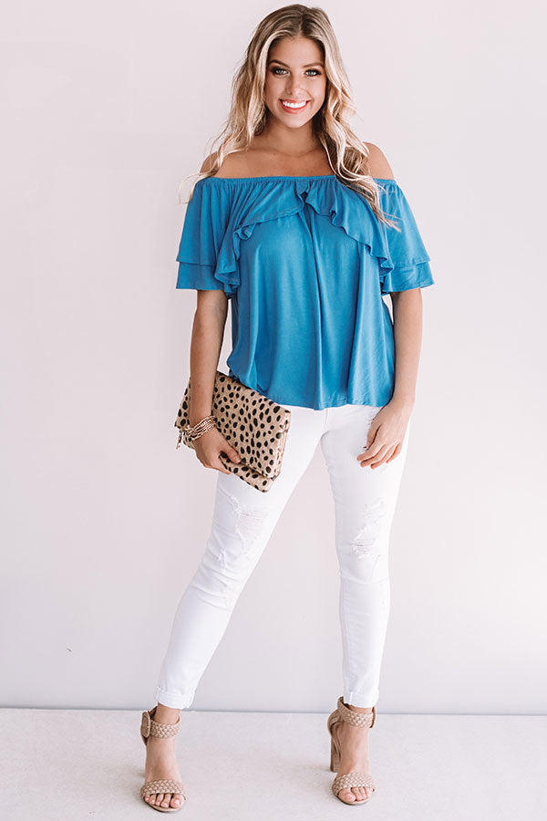 Cool For The Summer Off Shoulder Top in Blue