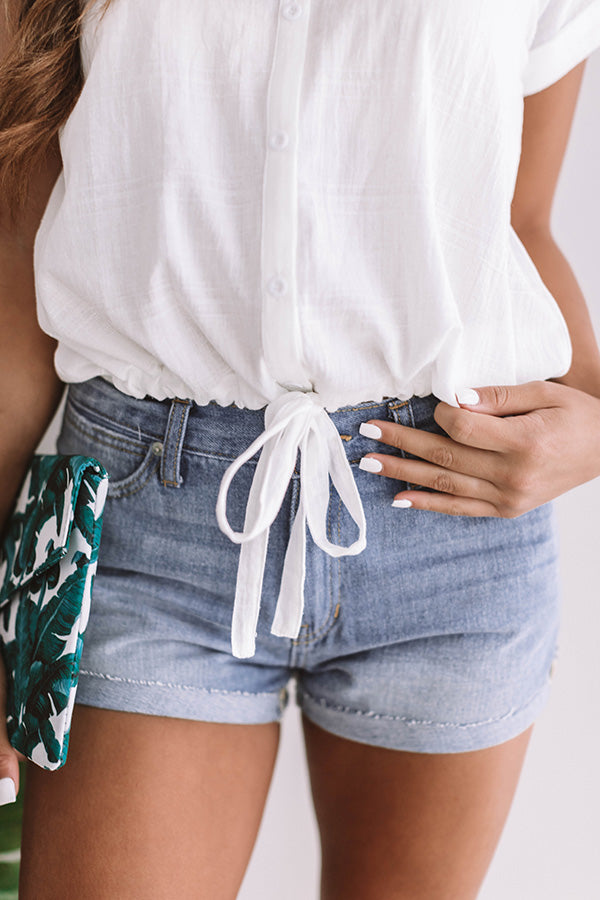 Cuff It Out High Waist Denim Short in Light Blue