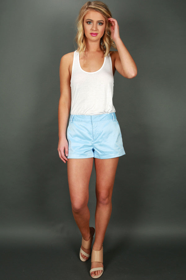 Strut My Way Sateen Shorts in Sky Blue