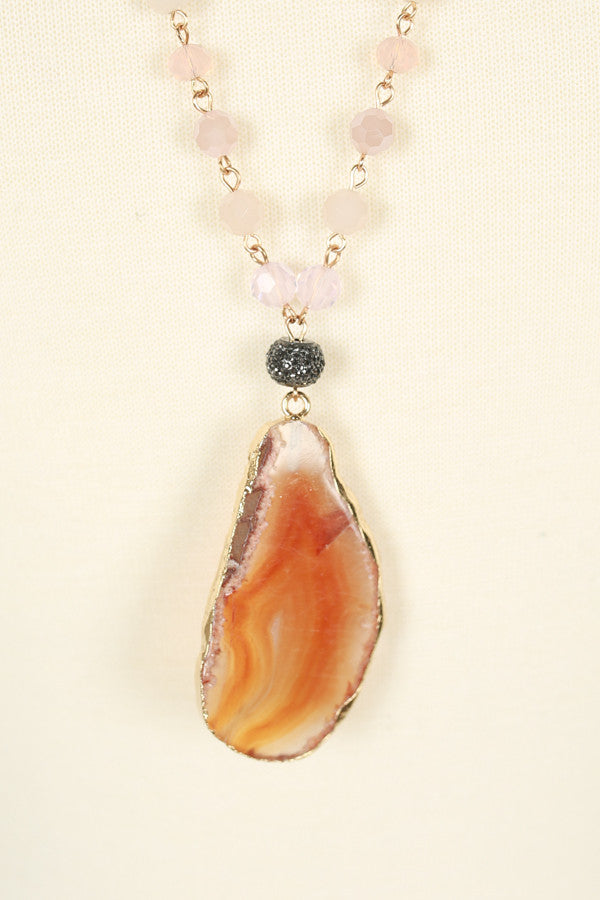 Barbados Babe Agate Necklace in Rose Quartz
