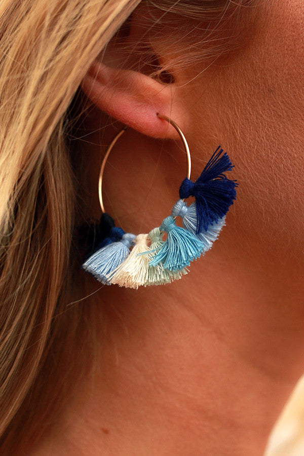 Time To Party Tassels Earrings in Blue