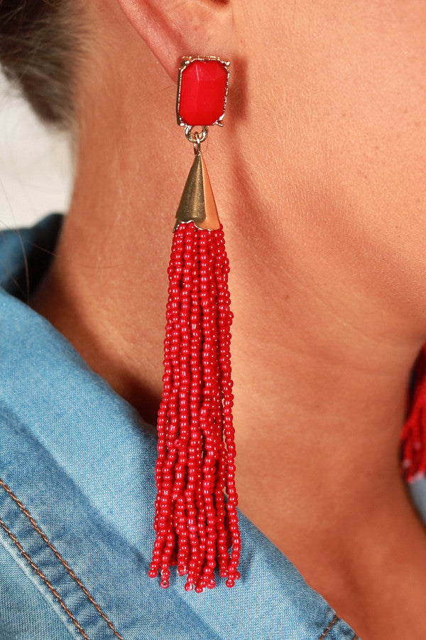 Gleam and Glisten Earrings in Crimson