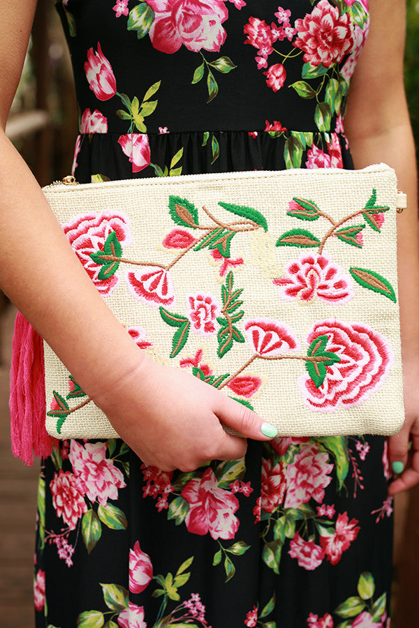 Destination Dreaming Embroidered Clutch